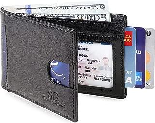 RFID Blocking Slim Bifold Genuine Leather Thin Minimalist Front Pocket Wallets for Men