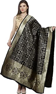 Exotic India Bandhani Tie-Dye Gharchola Dupatta with Zari Weave and Brocaded Border