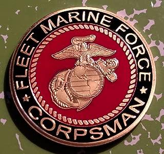 USMC Marine Corps Fleet Marine Force Corpsman Military Challenge Art Coin