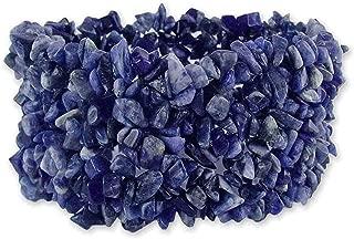 NOVICA Bright Blue Natural Sodalite Stone Wide Cuff Stretch Bracelet, Infinite Blue'