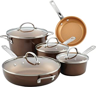 Ayesha Curry 10770 Home Collection Nonstick Cookware Pots and Pans Set, 9 Piece, Brown Sugar