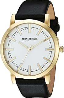 Kenneth Cole New York Men's Slim Stainless Steel Japanese-Quartz Watch with Leather Calfskin Strap, Black, 22 (Model: 10030810)