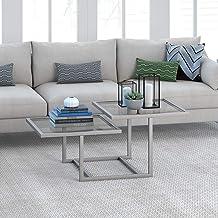 طاولة قهوة حديثة أنيقة من طبقتين لغرفة المعيشة، 45.72 سم ارتفاع × 109.22 سم طول × 58.42 سم عرض، نيكل فضي