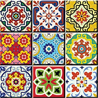 Tile Stickers 24 PC Set Authentic Traditional Talavera Tiles Stickersl Bathroom & Kitchen Tile Decals Easy to Apply Just P...