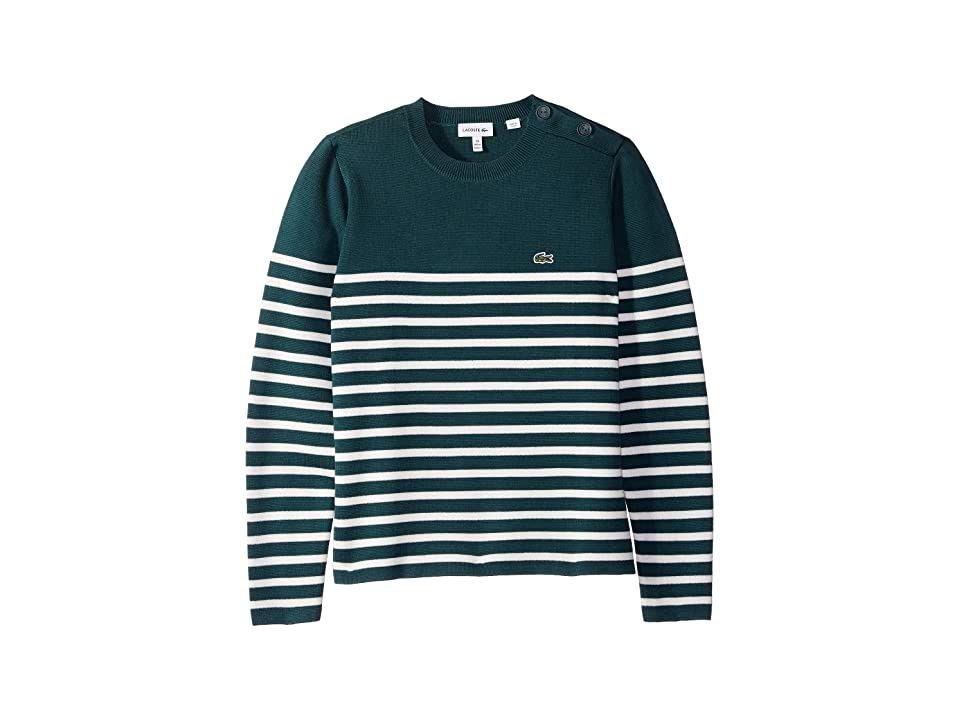 Lacoste Kids Milano Striped Buttoned Sweater (Toddler/Little Kids/Big Kids) (Aconit/Flour) Boy