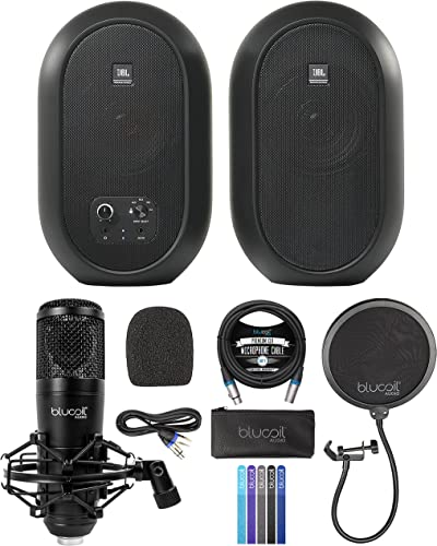 wholesale J BL Professional 1 Series 104-BT Compact Desktop Reference Monitors discount with Bluetooth, Black, Sold as Pair Bundle with Blucoil Condenser XLR Microphone, Pop discount Filter, 10' XLR Cable and 5x Cable Ties outlet sale