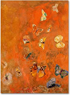 Evocation of Butterflies 1912 Artwork by Odilon Redon, 35 by 47-Inch Canvas Wall Art
