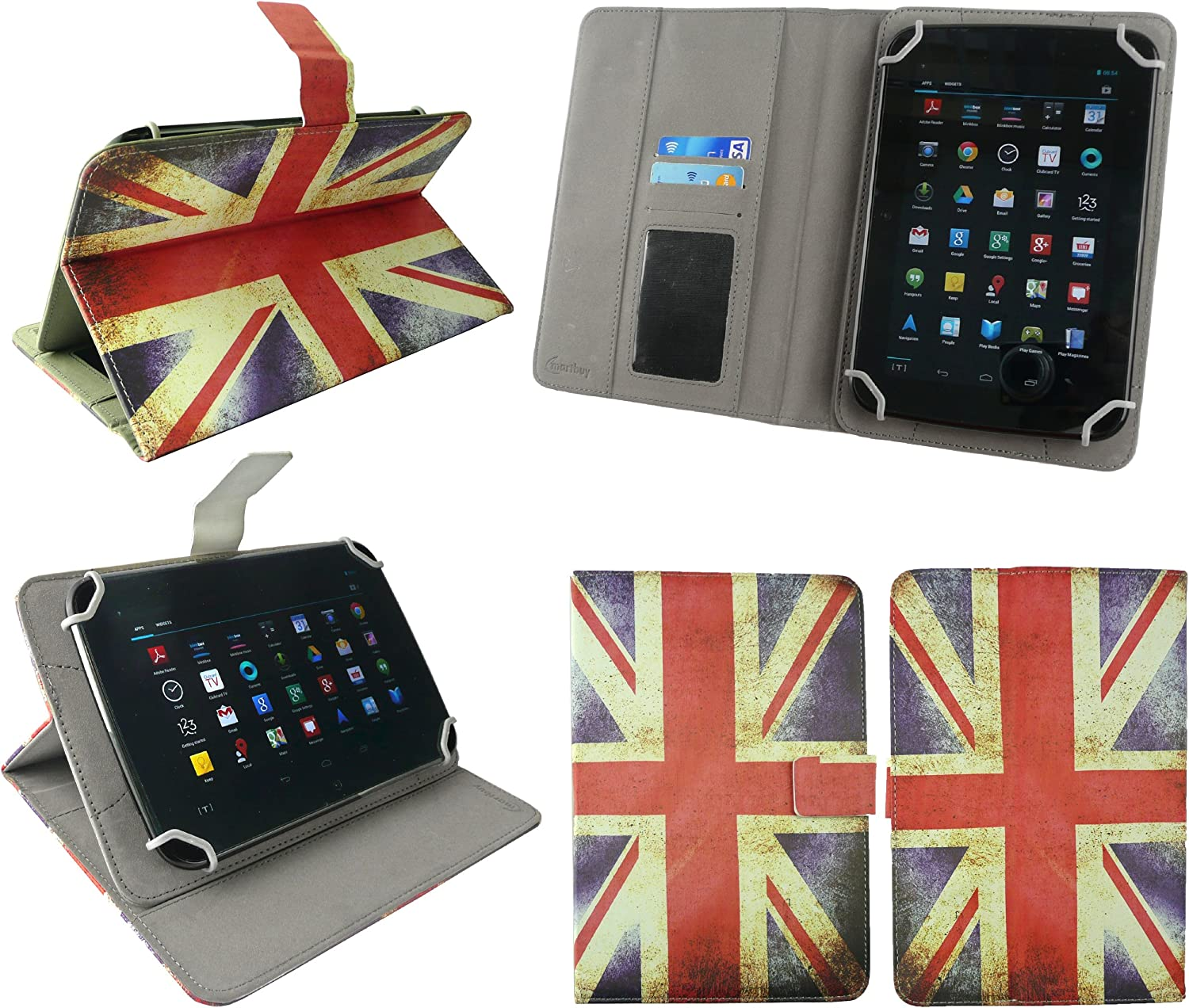Emartbuy/®  Fire HD 8 Tablet 8 Inch Universal Range White Multi Angle Executive Folio Wallet Case Cover With Card Slots White Dual Function Stylus