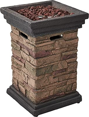 Belmont Home Fairbourne Brown Stack Stone Outdoor Gas Fire Pit