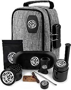 Sky High Dream Stash Pouch -Lock, Grinder, Silicone Jar, Double-Ended Pick, Storage Tube, Tray, Lighter Holder, Wick, Bat Cigarette Holder, Ziplock Bag