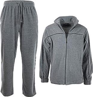 Men's Velour 2 Piece Tracksuit - Casual Full Zip Athletic Sports Set