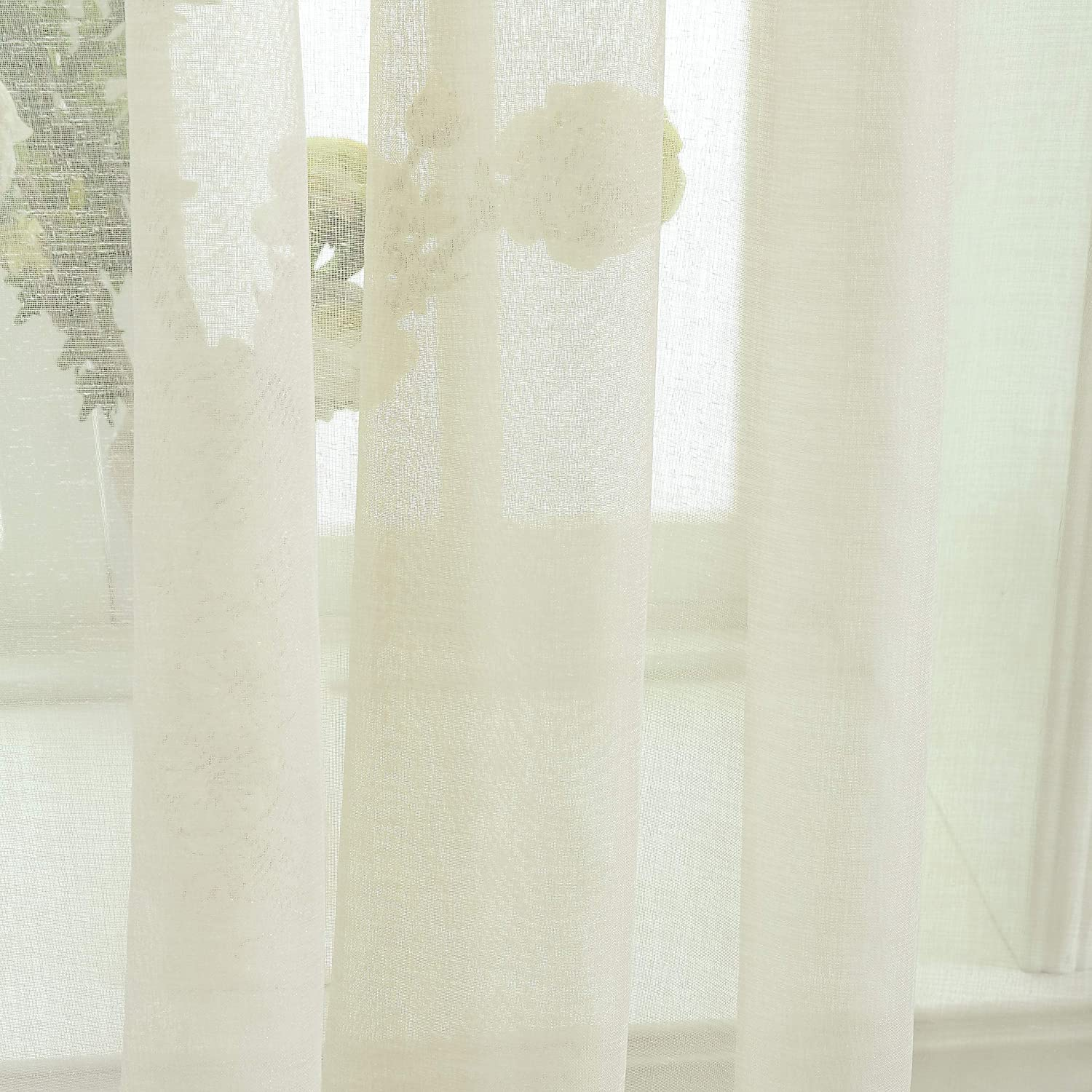 52 x 72 inch, Aqua Selectex Linen Look Pom Pom Tasseled Sheer Curtains Rod Pocket Voile Semi-Sheer Curtains for Living and Bedroom Set of 2 Curtain Panels