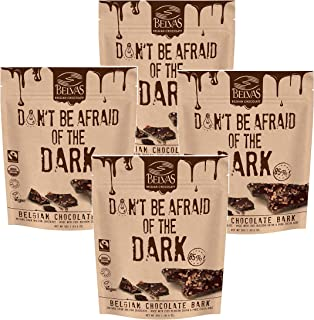 Belvas Belgian Thins Organic Dark Chocolate Snack with 85% Cocoa and Sweetened with Coco Blossom Sugar - Vegan, Gluten Free, Fairtrade, 10.6 oz. Resealable Bag (Pack of 4)