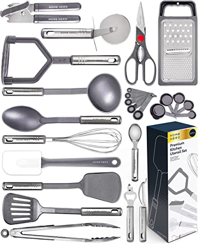 high quality Home Hero 25pc Kitchen Utensil Set - Nylon & Stainless Steel Cooking Utensils - Non-Stick Kitchen 2021 Utensils with Spatula - Kitchen Gadgets popular Cookware Set - Kitchen Tool Set (25 Piece, Gray) online