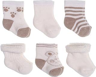 Calcetines de recién nacido / Patucos bebé de algodón rizado con motivos ositos - Lote 6 pares (0-3 meses) - Color: Beige/crema