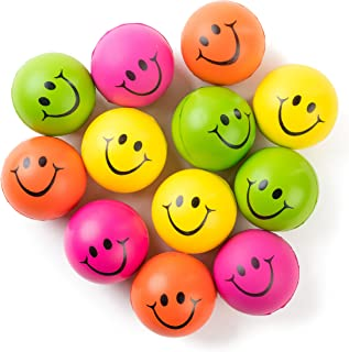 "Be Happy! Neon Colored Smile Funny Face Stress Ball - Happy Smile Face Squishies Toys Stress Foam Balls for Soft Play - Bulk Pack of 12 Relaxable 2.5"" Stress Relief Smile Squeeze Balls Fun Toys"