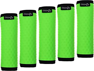 Cosmos 5 Pcs Soft Neoprene Anti-slip Luggage Handle Wraps Grips for Travel Bag Suitcase (Circle Embossed, Fluorescence Green)
