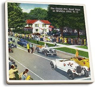 Lantern Press Watkins Glen, New York - Starting Line at The Grand Prix Auto Race (Set of 4 Ceramic Coasters - Cork-Backed, Absorbent)