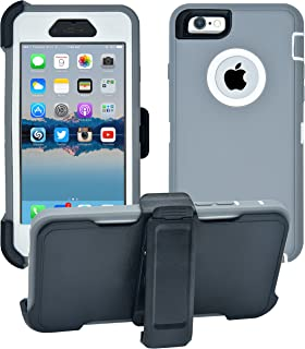 iPhone 6 / 6S Cover   2-in-1 Screen Protector & Holster Case   Full Body Military Grade Edge-to-Edge Protection with carrying belt clip   Drop Proof Shockproof Dustproof   Grey / White