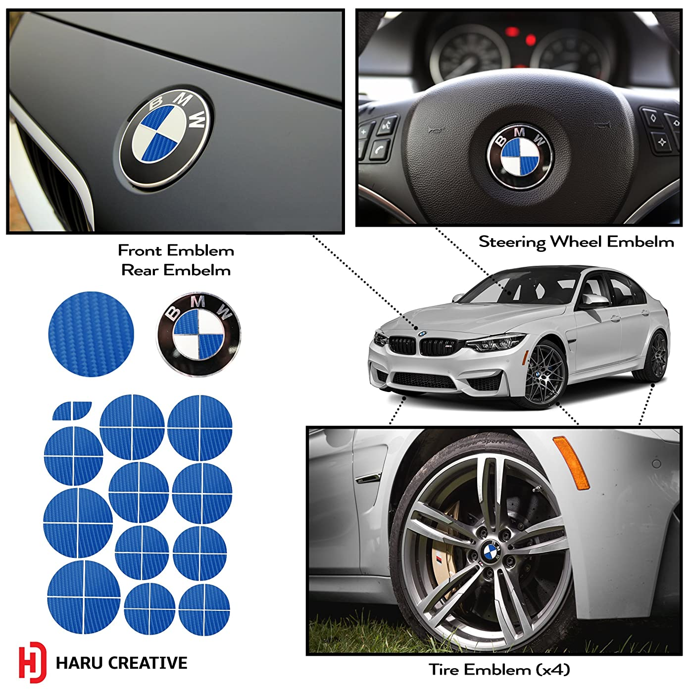 Haru Creative - Vinyl Overlay Decal Fits All BMW Emblem Caps Hood Trunk Wheel Fender (Emblem Not Included) - 4D Carbon Fiber Blue