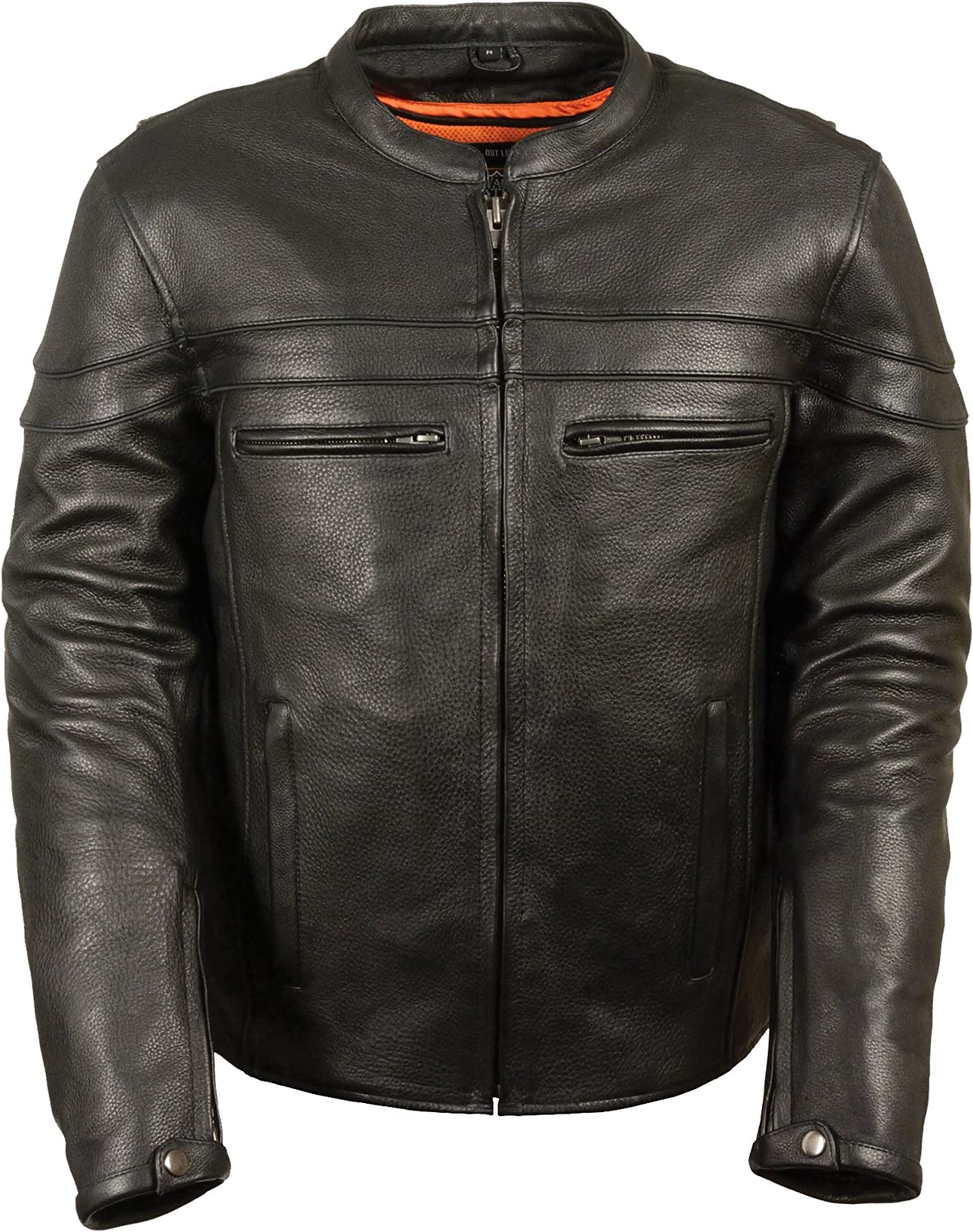 X-Large Milwaukee Leather ML1010 Mens Side Lace Vented Black Leather Scooter Jacket