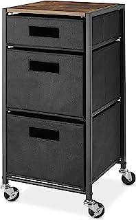 Whitmor Rolling 3-Drawer Storage Utility Cart, Brown