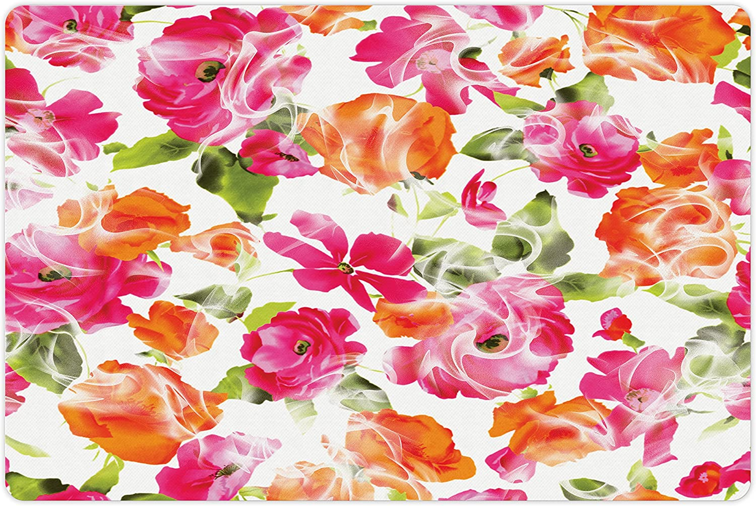 Lunarable Flower Pet Mat Save money Large-scale sale for Food Water and Vivid Watercolor St
