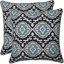 Pillow Perfect 18.5 Inch Throw Pillow (Set of 2) Outdoor Tufted Bench Swing Cushion, 18.5 in. L X 18.5 in. W X 5 in. D, Black