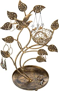 MyGift 14-Inch Bronze-Tone Tree & Bird Nest Earring Stand Jewelry Tower with Ring Trinket Organizing Tray