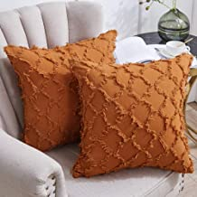 Longhui bedding tan Throw Pillow Covers for Sofa, Couch, Bedroom, Family Room – Set of 2 Decorative Pillows 18 x 18 Inches...