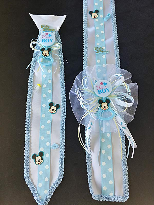 Blue Baby Mickey Mouse Baby Shower Sash Tie Set