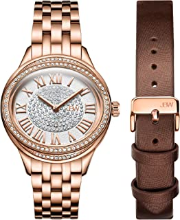 JBW Womens 10-Year Anniversary Plaza Diamond Wrist Watch with Two Interchangeable Bracelets