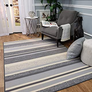 Anti-Bacterial Rubber Back Area Rugs Non-Skid/Slip 5x7 Floor Rug | Grey Stripes Colorful Indoor/Outdoor Thin Low Profile Living Room Kitchen Hallways Home Decorative Traditional Area Rug