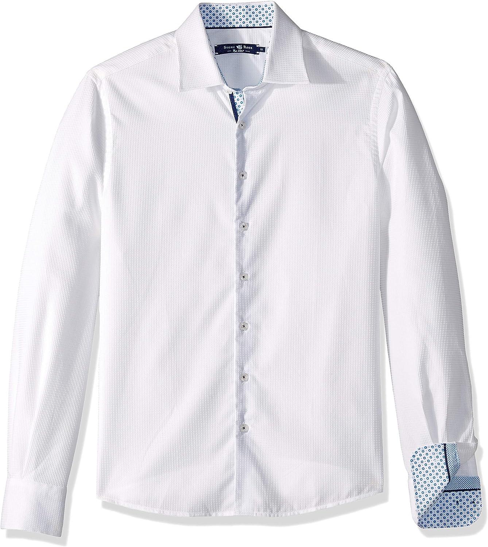 Stone pink Mens Men's Cotton Waffletweave Long Sleeve Shirt Shirt