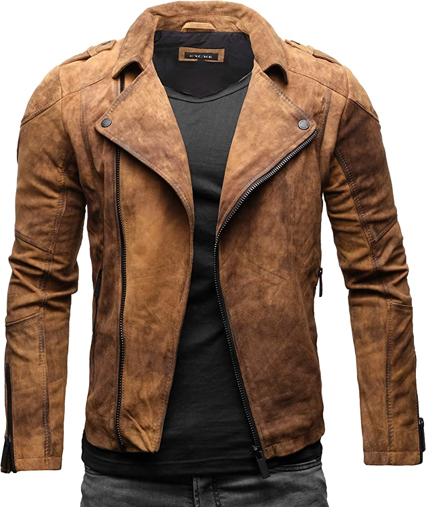 Crone theo basic biker giacca in pelle bovina morbida scamosciata Marrone Vintage