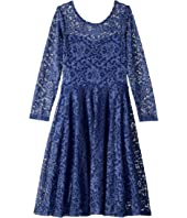Aurora Long Sleeve Lace Skater Dress (Little Kids/Big Kids)