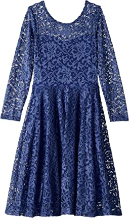 Aurora Long Sleeve Lace Skater Dress (Little Kids/Big Kids)