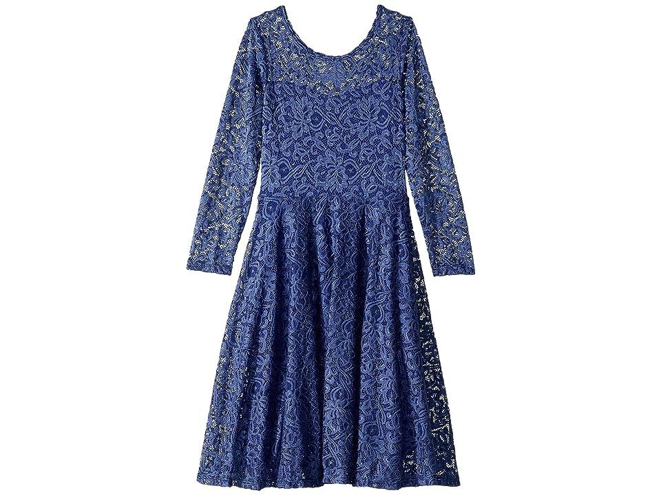 fiveloaves twofish Aurora Long Sleeve Lace Skater Dress (Little Kids/Big Kids) (Wedgewood Blue) Girl