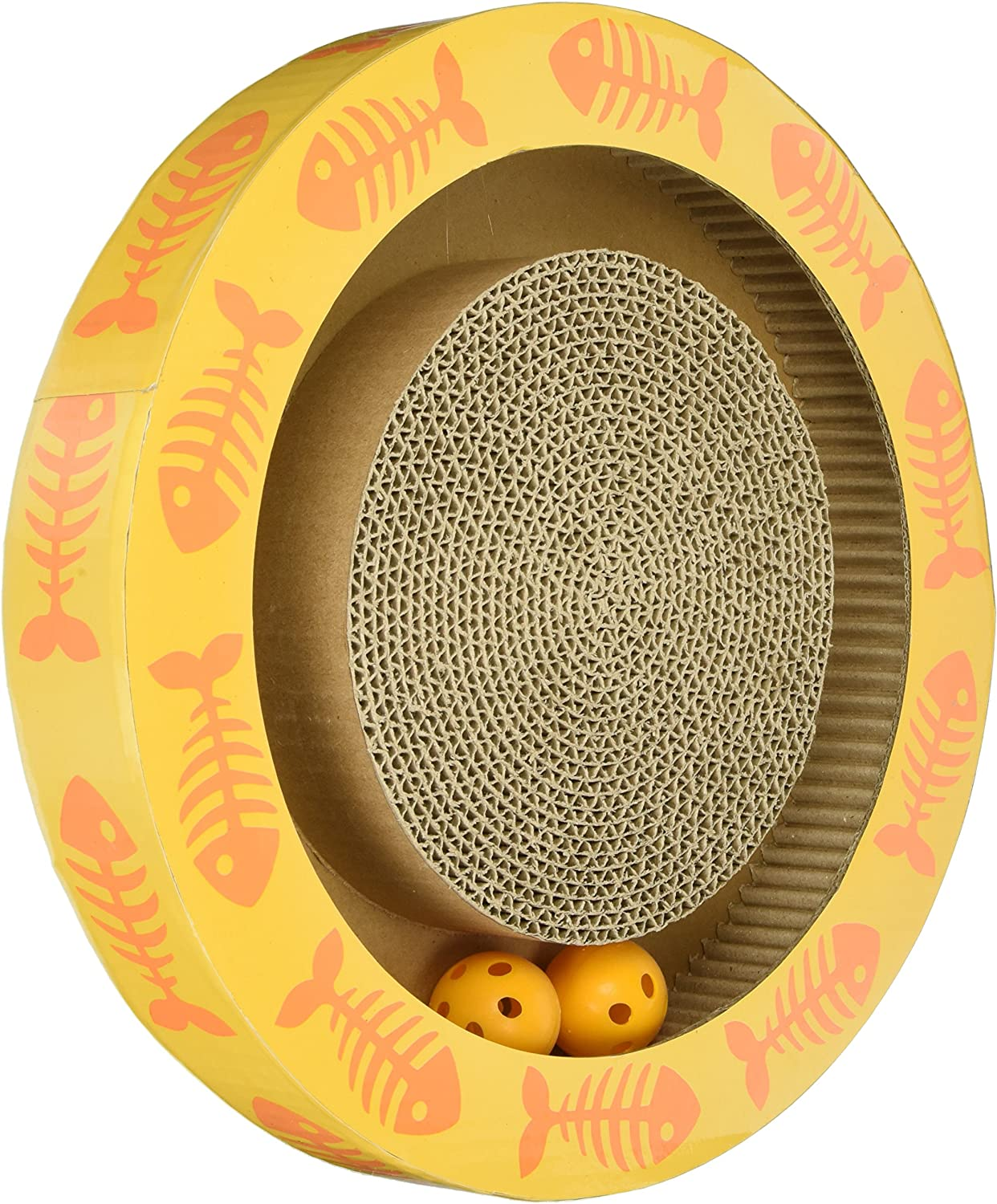 Pet Rageous Sylvester's Interactive Corrugated Round Cat Scratcher with Jingle Balls, 13.39  x 2.17 , Yellow