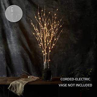 LITBLOOM Lighted Twig Branches with Timer and Dimmer Tree Branch with Warm White Lights for Holiday and Party Decoration 32IN 150 LED Waterproof Plug in White