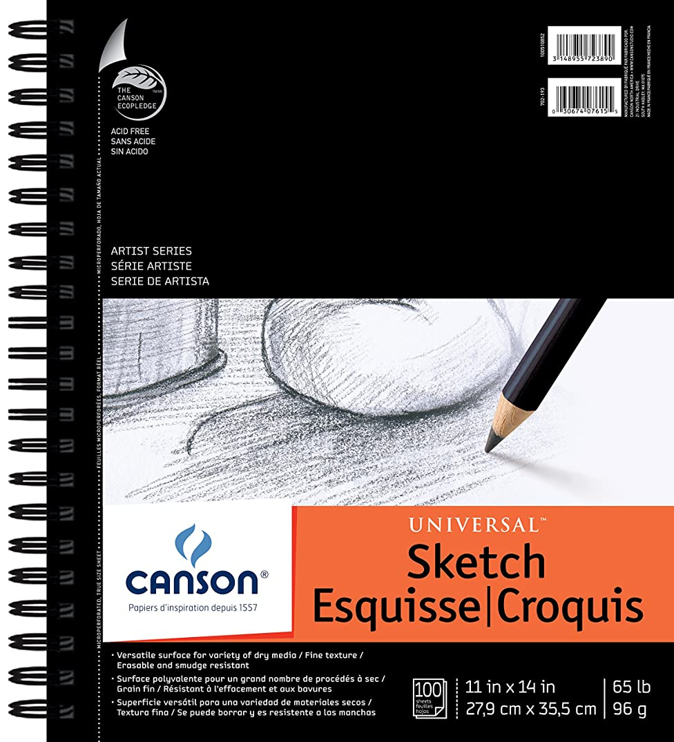 Canson Artist Series Universal Paper Sketch Pad, for Pencil and Charcoal, Micro-Perforated, Side Wire Bound, 65 Pound, 11 x 14 Inch, 100 Sheets