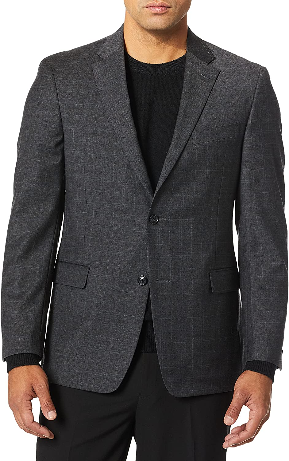 Tommy Hilfiger Men's Jacket Modern Fit Suit Separates with Stretch-Custom Jacket & Pant Size Selection, Charcoal Plaid, 42S