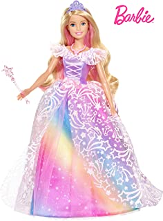 Barbie Dreamtopia Royal Ball Princess Doll, Blonde Wearing Glittery Rainbow Ball Gown, with Brush and 5 Accessories, Gift ...