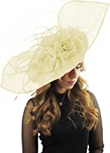 Hats By Cressida 26 inch Medium Elisaveta Sinamay Ascot Kentucky Derby Fascinator Hat with Headband