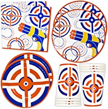 """Dart War Party Supplies Tableware Set 24 9"""" Paper Plates 24 7"""" Plate 24 9 Oz Cups 50 Lunch Napkins for Kids Target Bullets..."""