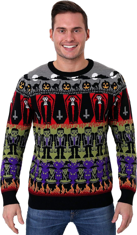 Easy Retro Halloween Costumes – Last Minute Ideas Adult Classic Horror Monsters Fair Isle Halloween Sweater  AT vintagedancer.com