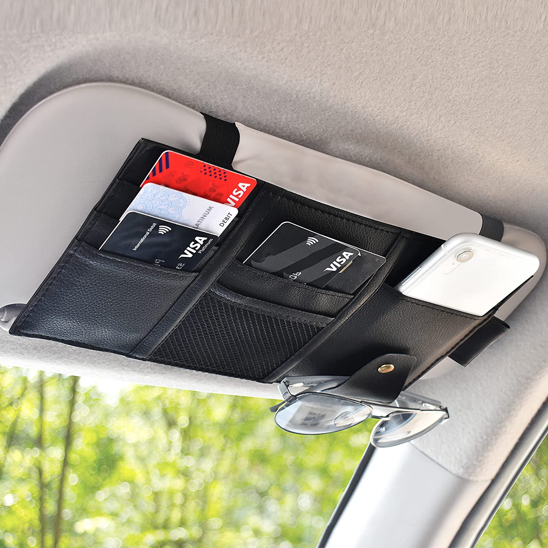 EcoNour Car Sun Visor Organizer | Truck Visor Organizer with Storage Pockets for Cards, Pens, Sunglasses and Documents | Glasses Holder for Car with Multi-Pocket Net Zipper | Interior Car Accessories