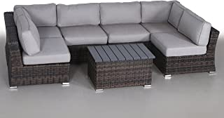 Century Modern Outdoor Marina Collection Patio Furniture Sofa Garden, Sectional Furniture Set Resort Grade Furniture. No Assembly Required [CM-5906] (7 Pieces (Grey), Marina Brown)