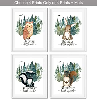 Woodland Nursery Decor for Boys - Animal Pictures Wall Art - Baby Room Animal Prints - Kids Bedroom Poster - Rustic Nursery Decorations - CHOOSE SIZE and MAT or PRINT ONLY - SET OF 4 UNFRAMED