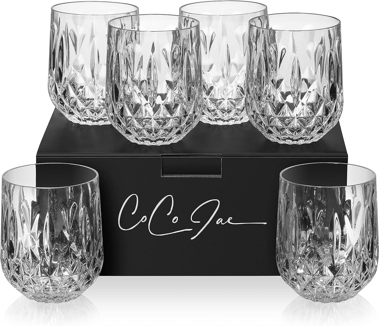 Diamond Cut Crystal Pattern Clear Shipping included Drinking Award-winning store Plastic Tumb Glasses